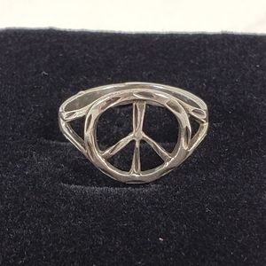 Men's Women's Sterling Silver Peace Sign Ring